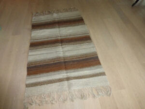 Hand knotted wool rug with fringe