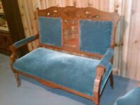 Antique settee and two side chairs