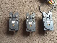 3 delkims bite alarms with reciver not and extra existention lead