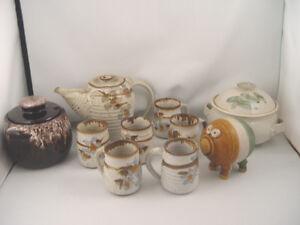 Vintage Pottery Dish Lot Coffe / Tea Set Casserole Bean Crock