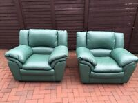 Green leather sofa and chairs for sale