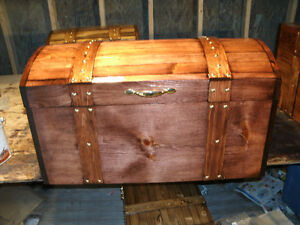 WOOD CRAFTED CURVED TOP TREASURE,HOPE CHEST,STORAGE BOX, TRUNK,