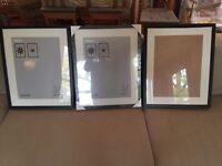 3 x IKEA Ribba 40 x 50 cm picture photo frames black