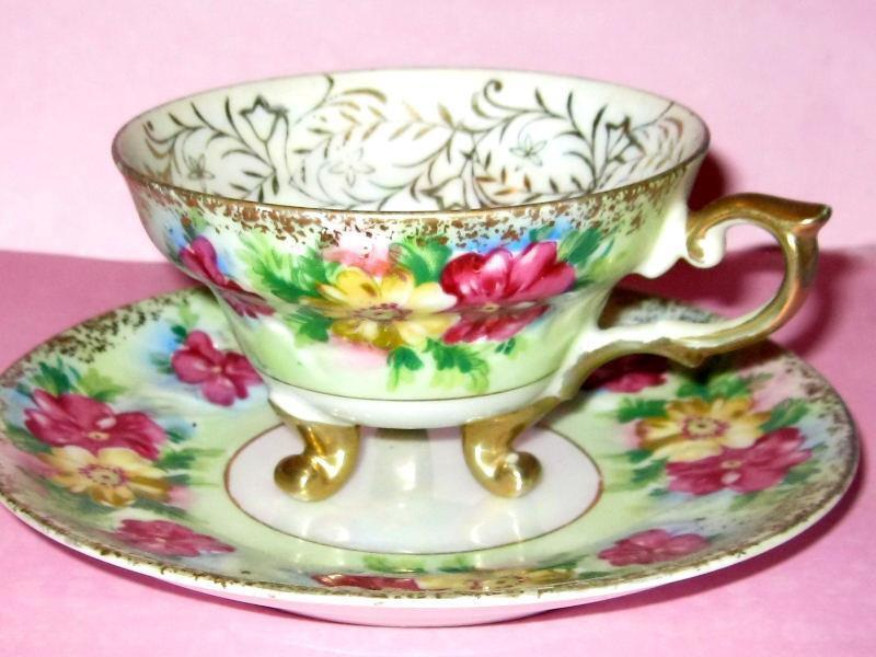 JAPAN 3 FOOTED Tea Cup and Saucer LIME & PINK FLORAL TEACUP