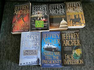 7 Jeffrey Archer paperback books - excellent condition