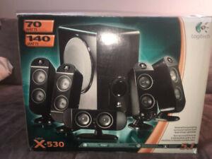 Logitech X-530 70 watts RMS 5.1 Black Speaker System for sale