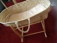 Moses basket, swing stand, mattress and Freebies