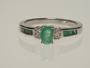 Sterling Silver Emerald & Cubic Zirconia Ring Appraised