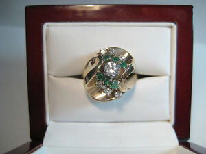 Estate Diamond and Emerald Custom Made Cocktail Ring