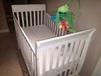 White Crib (with mattress, fitted sheet, mobile)