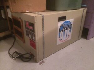 Garage dust filter, table saw, fridge, A/C unit