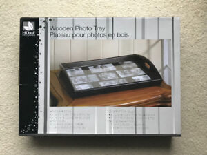 New In Box Black Wooden Photo Tray Great Christmas Gift Idea