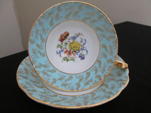 vtg Stanley fine bone china tea cup turquoise