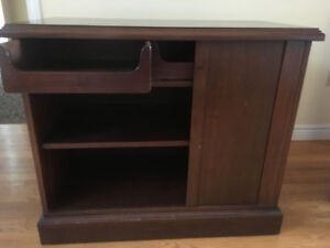 Stunning solid wood cabinet with funky disappearing tambour door
