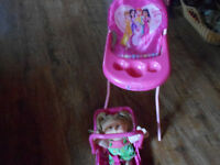 precious gems highchair. carseat and baby cabbage patch