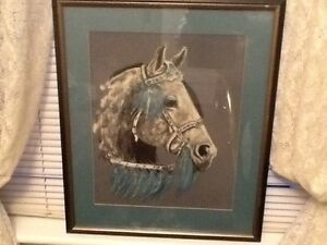 Dapple grey  horse pastel picture. Framed.