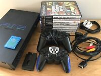 PS2 Playstation 2, 8 Games and Wireless controller All fully working and in good condition.