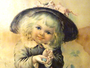 SO SWEET 1800s OLEOGRAPH color lithograph GIRL HOLDING ROBIN EGG
