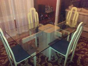 Luxury Marble & glass dining room/kitchen table + lacquer chairs
