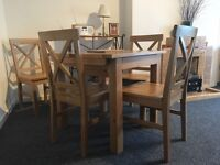 Oak Extending Dining Table & chairs