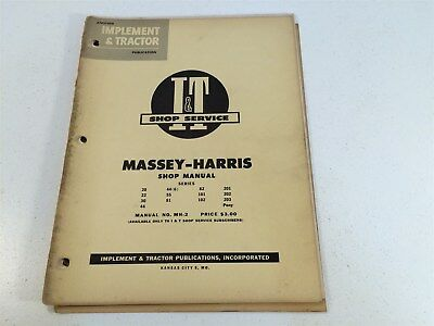 Vintage 1953 Implement Tractor Shop Manual - Massey-harris Pony 20 22 30 44 55