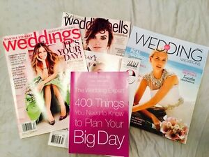 """The Wedding Expert"" book and 4 bridal magazines"