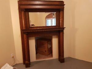 Antique quartersawn oak mantle