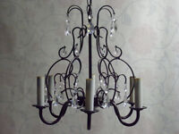 2 Matching Petite 6-Light Crystal Chandeliers - Flawless!!