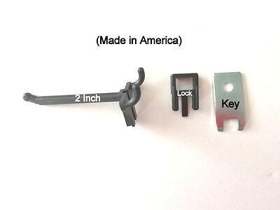 250 Pack 2 Inch Locking Black Plastic Pegboard Peg Hooks 250 Locks 12 Keys