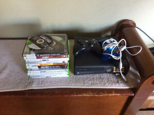 XBox 360 system 2 controllers and a dozen games