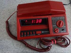 Vintage Desk Top **Red Radio-Alarm Clock-Landline Phone Combo