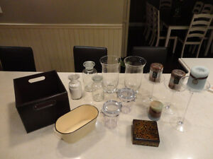 Variety of Kitchen Glass Decor Candle Stands, Canisters, Vases +