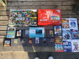 Nintendo wii and 3ds with boxes also have nes games and DJ hero
