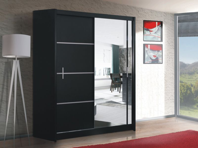 modern bedroom sliding door wardrobe with mirror vista black ebay