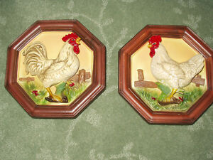 Vintage Prairie Farm House ROOSTER & HEN Wall Plaques by LEFTON