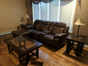 Double-Reclining Sectional Couch & 3 piece Coffee Table Set