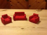 Vintage, dolls house sofa and two chairs, Dol Toi,