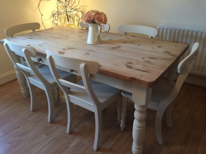 Rustic Reclaimed Pine Farmhouse Table and 6 Chairs  : 86 from www.gumtree.com size 800 x 600 jpeg 54kB