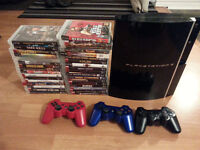 Playstation 3 console with 34 games and 3 controllers