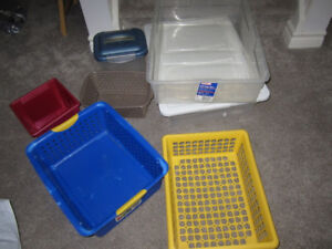 Various Rubbermaid and Sterilite boxes, bins (small and medium)