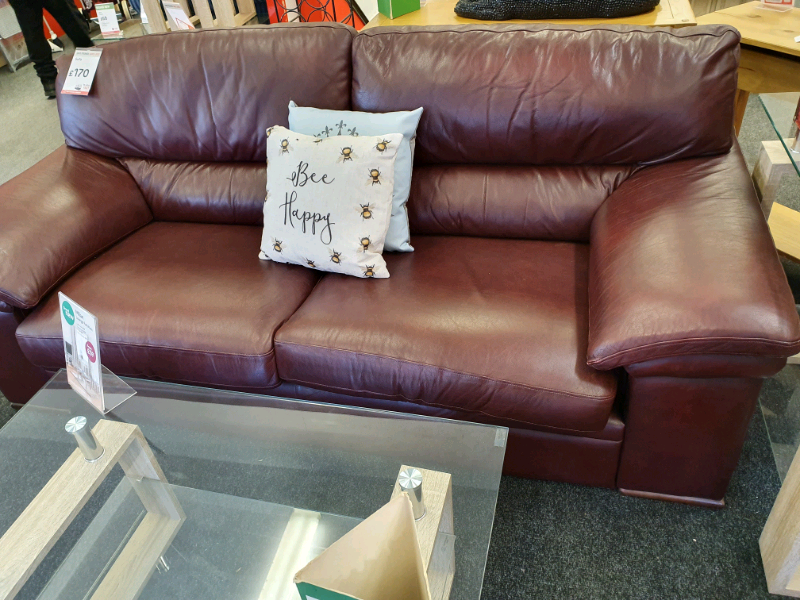 Brilliant Bhf Modern Red Brown 3 Seater Leather Sofa Reduced In Huddersfield West Yorkshire Gumtree Pdpeps Interior Chair Design Pdpepsorg