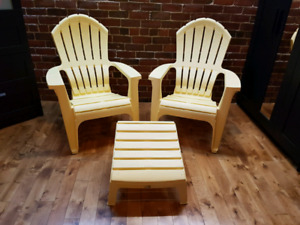Adirondack-style deck chairs and footstool