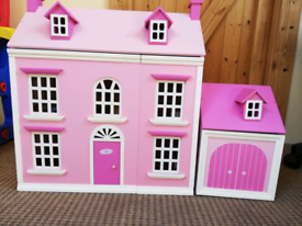 Wooden Dolls' House and Garage