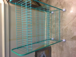 Turquoise rolling rack with 3 shelves