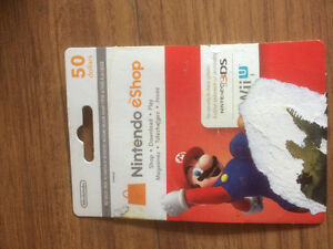 Unused $50 Nintendo E-Shop Card