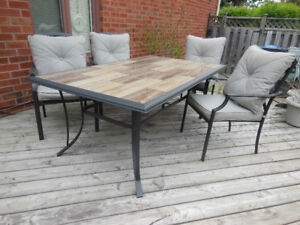 Beautiful Tile Topped Table Set including 6 chairs & 12 cushions