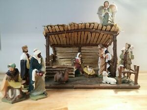 Hand Made Nativity Scenes with 10 Figurines, Mangers, Christmas