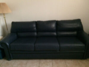 Like new Blue real leather couch