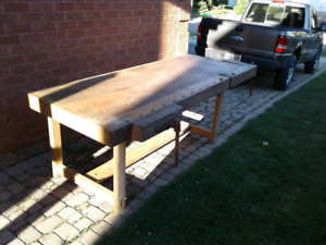 Solid Oak Woodworking Bench, Carpenters Table/Work Bench