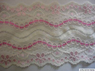 3 Lfm breite elastische Spitze 1,66€/m weiß,pink Blumenmotiv 8,5cm breit TA73